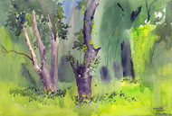 Peace by Gajanan Kashalkar, Impressionism, Impressionism Painting, Watercolor on Paper, Green color