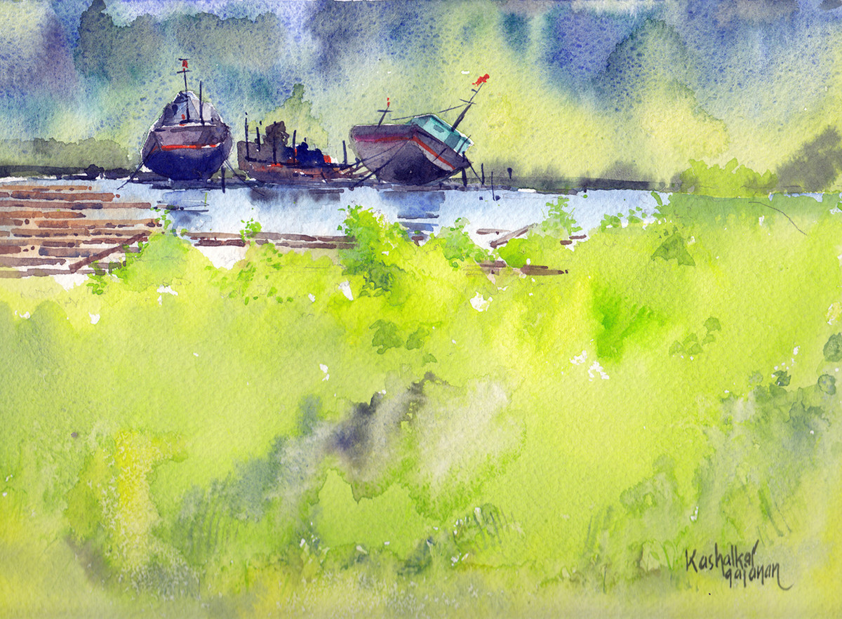 Jetty by Gajanan Kashalkar, Impressionism Painting, Watercolor on Paper, Beige color