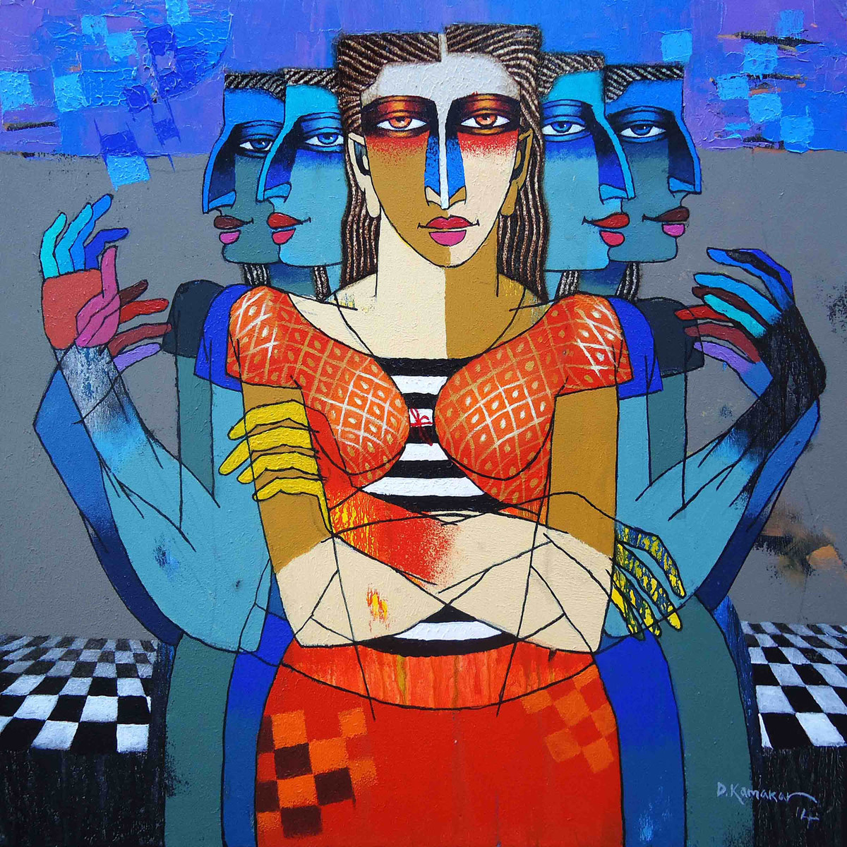 Save Us by Dayanand Kamakar, Decorative, Decorative Painting, Oil & Acrylic on Canvas, Blue color