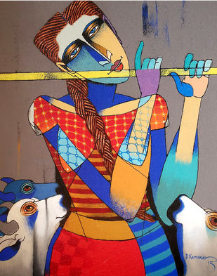 Playing Flute by Dayanand Kamakar, Decorative, Decorative Painting, Oil & Acrylic on Canvas, Brown color