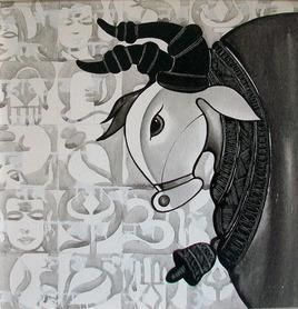 Nandi by Vivek Kumavat, Decorative Painting, Acrylic on Canvas, Gray color