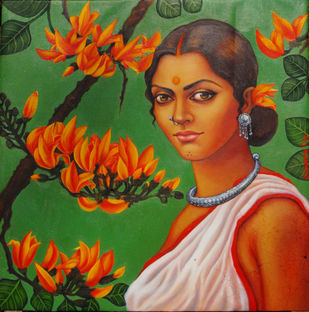Fire of forest by Suparna Dey, Realism, Realism Painting, Oil on Canvas, Green color
