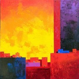 Cityscape by Gangu Gouda, , , Red color