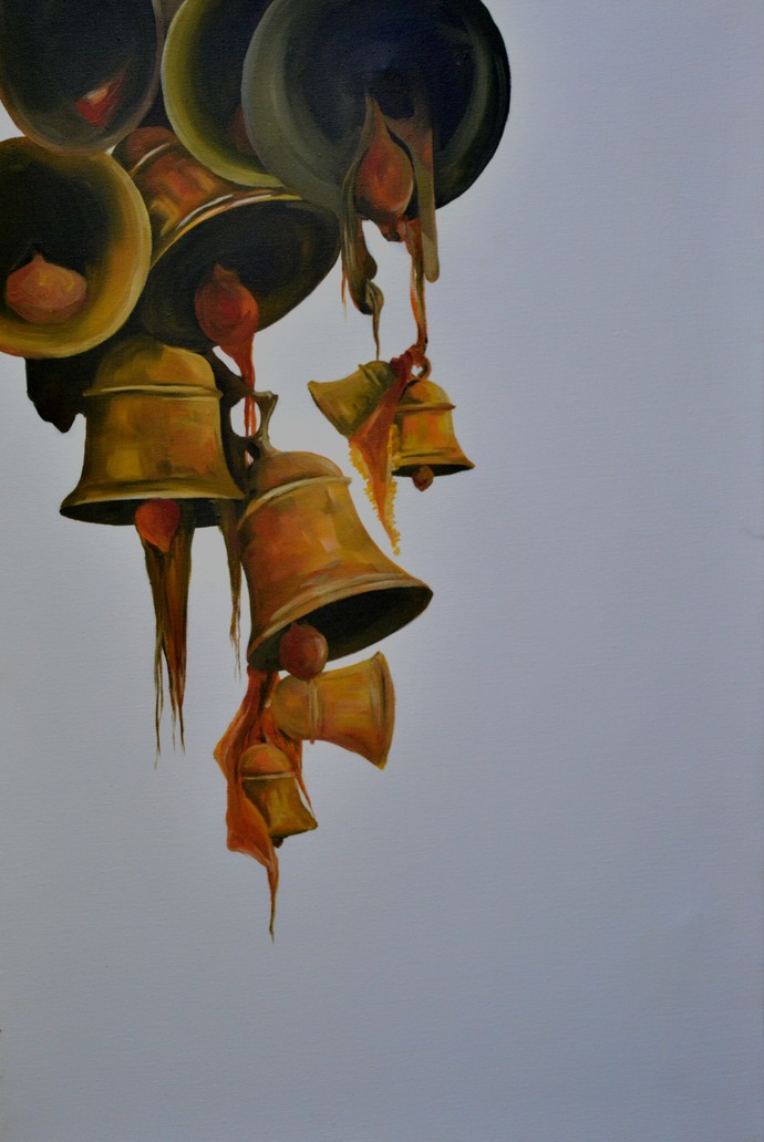 Faith by Prasoon Poddar, Realism, Realism Painting, Oil & Acrylic on Canvas, Gray color