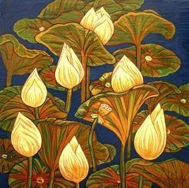 The Lotus Flowers by Atin Mitra, Painting, Tempera on Canvas, Brown color