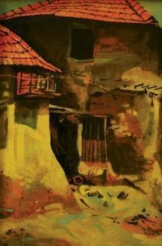 The Village Scape by Atin Mitra, Impressionism Painting, Tempera on Board, Brown color