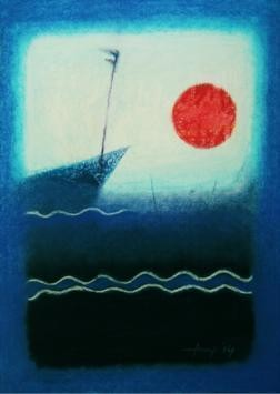 Affection by Anup Mitra, Abstract, Abstract Painting, Pastel on Paper, Blue color