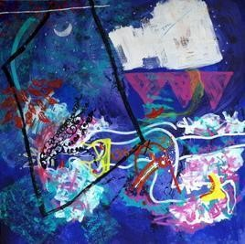 IntoxicatedAnxiety by Nidhi Saxena, Painting, Acrylic on Canvas, Blue color