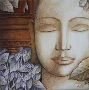 Buddha by Atul Virkar, Painting, Pen on Canvas, Brown color