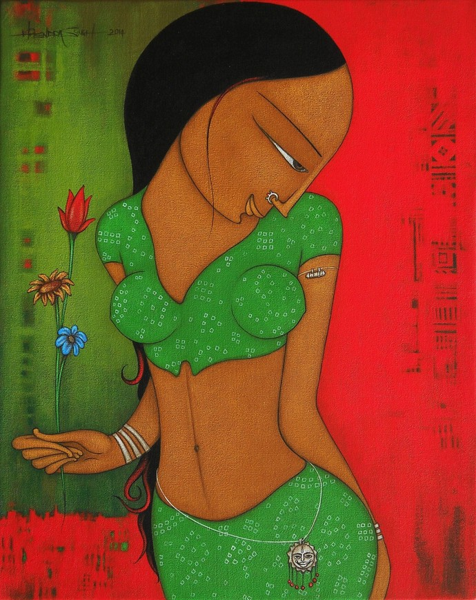 Eternal Beauty by Hitendra Singh Bhati, Decorative, Decorative Painting, Acrylic on Canvas, Green color