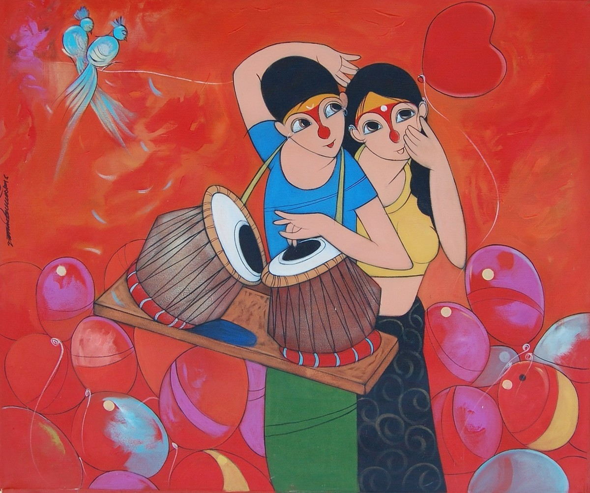 Love by Dnyaneshwar Bembade, Decorative, Decorative Painting, Acrylic on Canvas, Red color