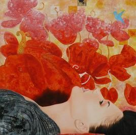 Flower and Dream by Abhisek Dey, Fantasy, Fantasy Painting, Acrylic on Canvas, Brown color