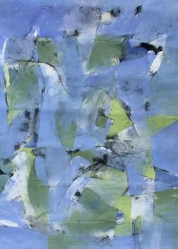 Untitled1 by Siddhesh Kandalgaonkar, Abstract Painting, Mixed Media on Paper, Blue color
