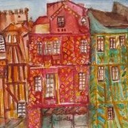 WoodenHousesinRennes,France by Sipra Datta Gupta, Painting, Watercolor on Paper, Brown color