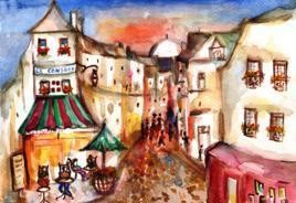MontmarteFrance,StreetScene by Sipra Datta Gupta, Painting, Watercolor on Paper, Brown color