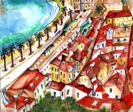 RooftopsinNice by Sipra Datta Gupta, Painting, Watercolor on Paper, Brown color