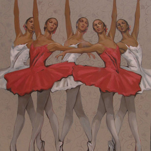 BallerinaSeries by Anindya Mukherjee, Painting, Acrylic on Canvas, Brown color