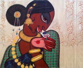 Rhythmic12 by Varsha Kharatmal, , , Brown color