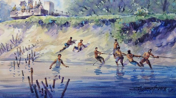 Boatpulling by Shyamal Karmokar, Painting, Acrylic & Ink on Canvas, Blue color