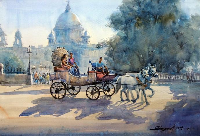 HistoryExist by Shyamal Karmokar, Painting, , Green color
