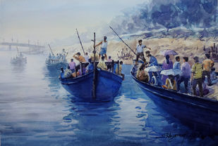 WaterSafari by Shyamal Karmokar, Painting, , Blue color