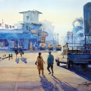 Cityscape by Shyamal Karmokar, Painting, , Blue color