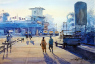 Cityscape by Shyamal Karmokar, Painting, , Blue color