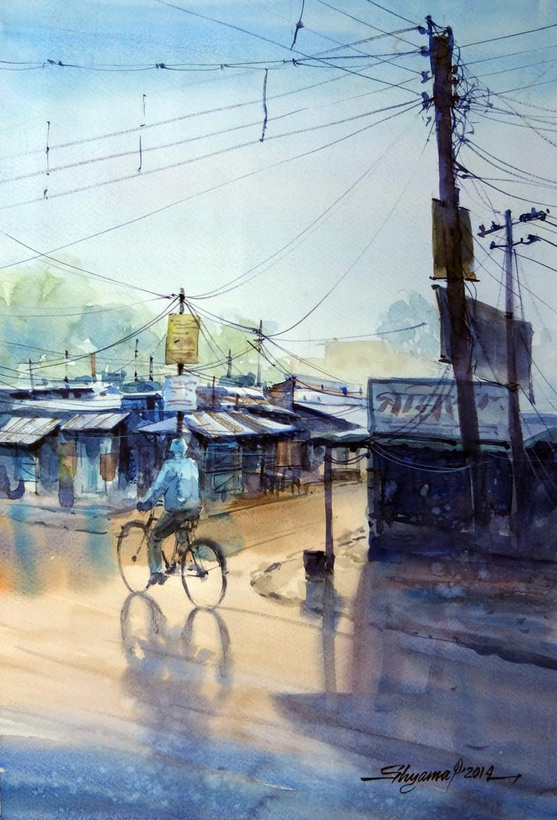 AfterRain by Shyamal Karmokar, Painting, , Cyan color
