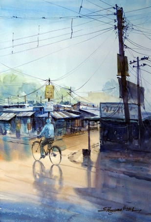 AfterRain by Shyamal Karmokar, Painting, , Cyan color