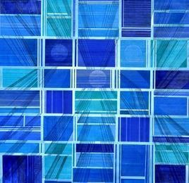 Space XXIV by S K Sahni, Geometrical Painting, Acrylic on Canvas, Blue color