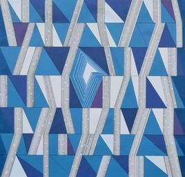Space XXVII by S K Sahni, Geometrical Painting, Acrylic on Canvas, Blue color