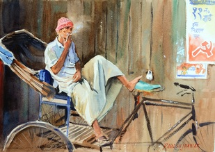 Smoking Rickshawallah by Ramesh Jhawar, , , Beige color