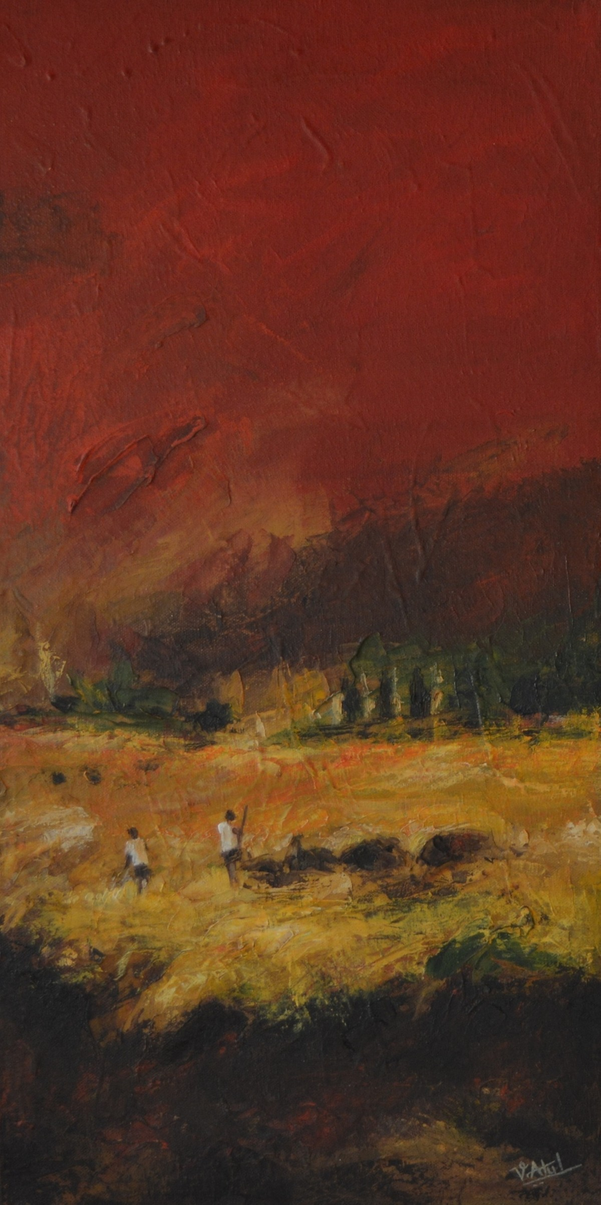 Landscape20 by Atul Virkar, Impressionism Painting, Oil on Canvas, Brown color