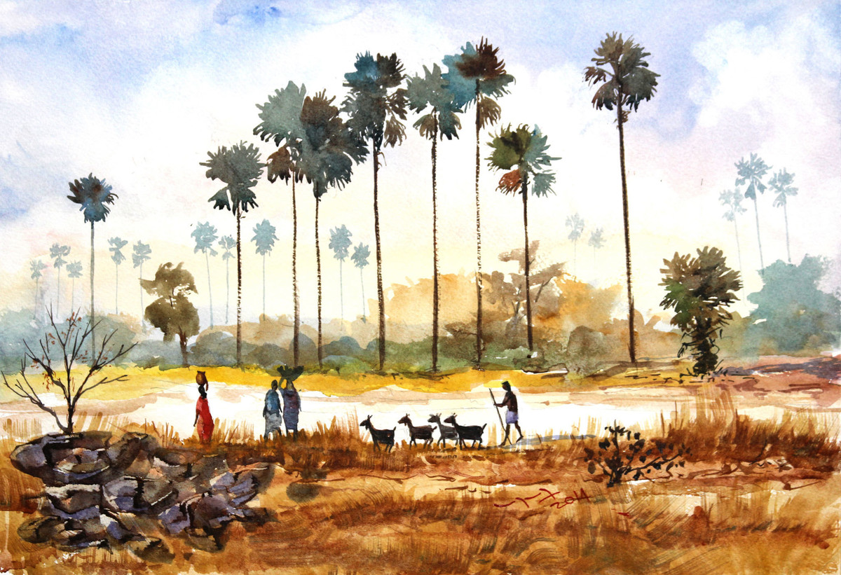 Village Life Landscape By Artist Balakrishnan S