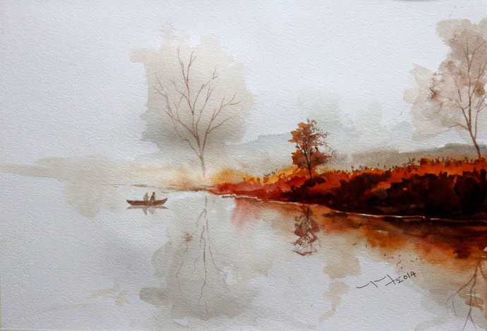 Landscape by Balakrishnan S, Impressionism Painting, Watercolor on Paper, Gray color