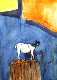 A Goat by Balakrishnan S, Impressionism Painting, Watercolor on Paper, Blue color