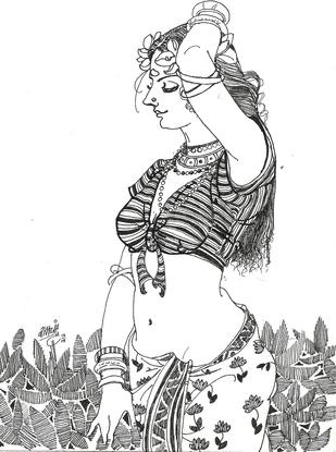 BlackWhiteBeauty4 - Drawing by Ramchandra Kharatmal