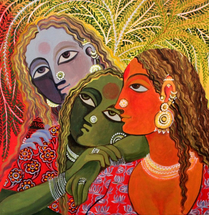 Friends by Jayshree P Malimath, Traditional Painting, Acrylic on Canvas, Brown color
