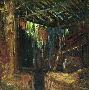 Under the Dilapidated Roof by Sachin Upadhye, Impressionism Painting, Oil on Canvas, Brown color