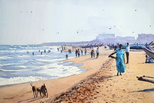 Evening at Marina Beach by Ramesh Jhawar, , , Cyan color