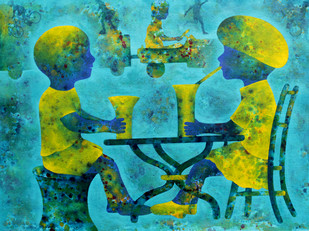Athkheliya by Lakhan Singh Jat, Decorative, Impressionism Painting, Acrylic on Paper, Cyan color