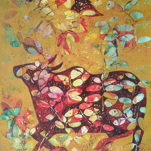 Untitled by Sonali Chouhan, Decorative Painting, Acrylic on Canvas, Beige color