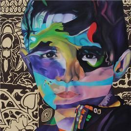 FlightOfImaginationCuriousBoy by Shikha Rajoria, Painting, Acrylic & Ink on Canvas, Brown color