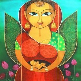 Safe Inside by Meenakshi Jha Banerjee, Traditional Painting, Acrylic on Canvas, Green color