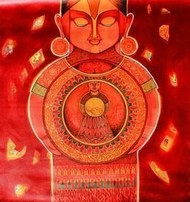 Mother Factory by Meenakshi Jha Banerjee, Traditional Painting, Acrylic on Canvas, Red color