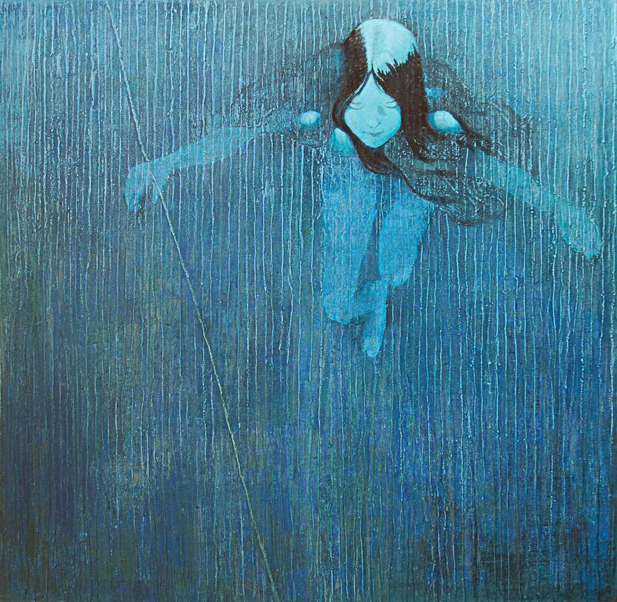 Go with the Flow by Studio Zaki, Expressionism Painting, Acrylic on Canvas, Blue color