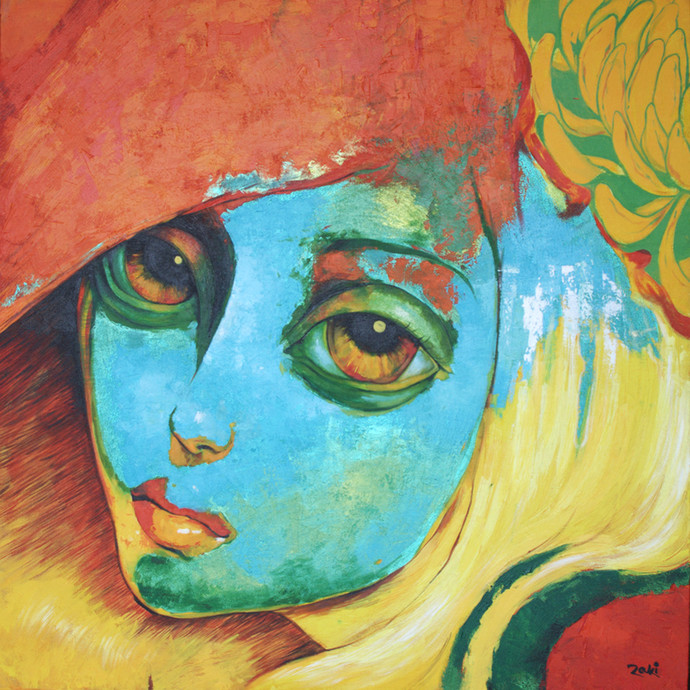 Inspired by Carmen by Studio Zaki, Expressionism Painting, Acrylic on Canvas, Brown color