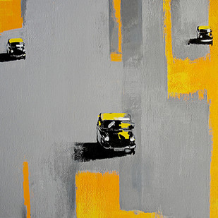 Mumbai Taxi by Studio Zaki, Geometrical Painting, Acrylic on Canvas, Gray color