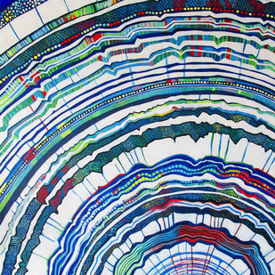 So Many Years Gone By by Studio Zaki, Op Art Painting, Acrylic on Canvas, Blue color