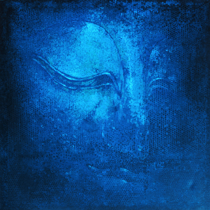 Buddha in Blue by Studio Zaki, Expressionism Painting, Acrylic on Canvas, Blue color